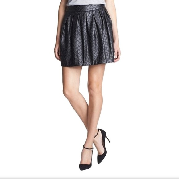 f9af51ce54 Hinge Skirts | Black Quilted Faux Leather Mini Skirt | Poshmark